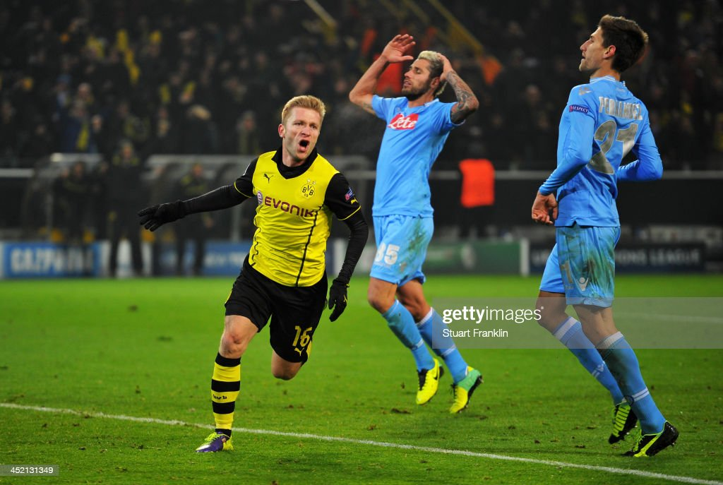 Jakub Blaszczykowski of Dortmund celebrates scoring his team's second goal during the UEFA Champions League Group F match between Borussia Dortmund and SSC Napoli at Signal Iduna Park on November 26, 2013 in Dortmund, Germany.