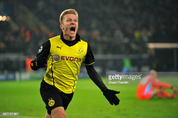 Jakub Blaszczykowski of Dortmund celebrates scoring his team's second goal during the UEFA Champions League Group F match between Borussia Dortmund...