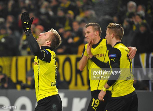 Jakub Blaszczykowski of Dortmund celebrates scoring the second Dortmund goal during the UEFA Champions League group F match between Borussia Dortmund...