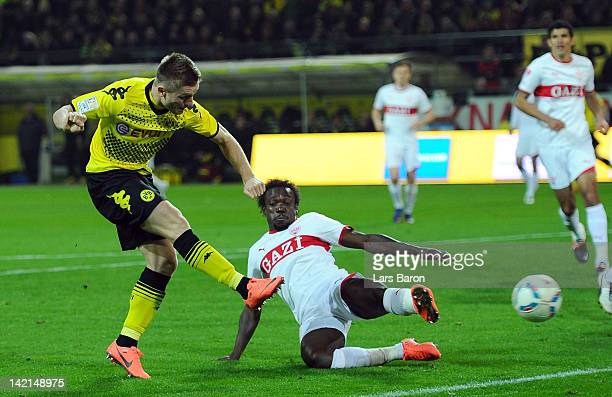 Jakub Blaszczykowski of Dortmund scores his teams second goal during the Bundesliga match between Borussia Dortmund and VfB Stuttgart at Signal Iduna...