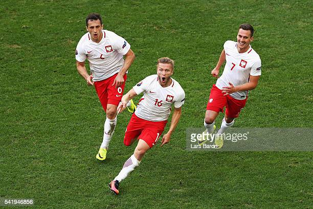 Jakub Blaszczykowski of Poland celebrates scoring his team's first goal during the UEFA EURO 2016 Group C match between Ukraine and Poland at Stade...