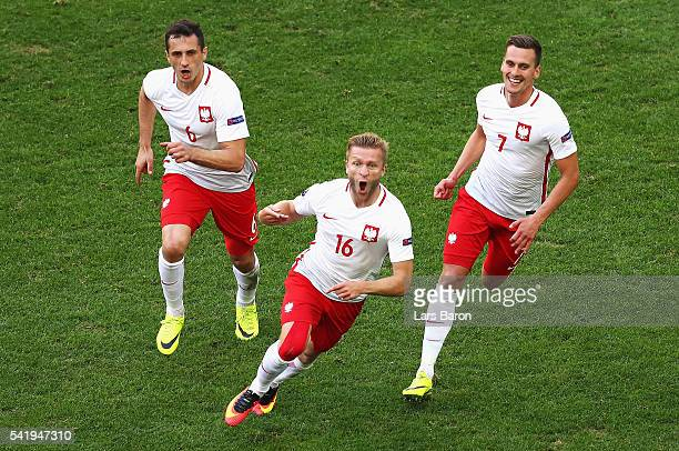 Jakub Blaszczykowski of Poland celebrates scoring his team's first goal during the UEFA EURO 2016 Group C match between Ukraine and Poland at Stade...