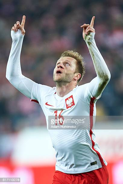 Jakub Blaszczykowski of Poland celebrates with team mates after scoring during the international friendly soccer match between Poland and Serbia at...