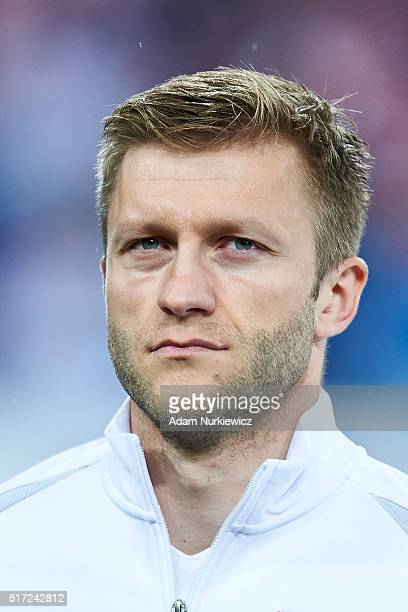 Jakub Blaszczykowski of Poland looks while national anthem during the international friendly soccer match between Poland and Serbia at the Inea...
