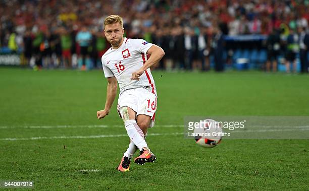 Jakub Blaszczykowski of Poland shoots the penalty saved by Rui Patricio of Portugal at the penalty shootout during the UEFA EURO 2016 quarter final...