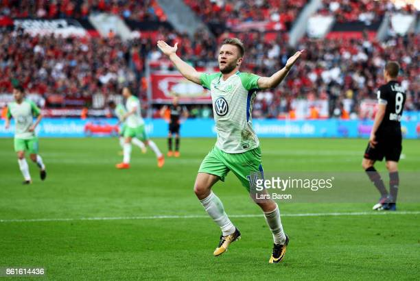 Jakub Blaszczykowski of VfL Wolfsburg celebrates after scoring a goal during the Bundesliga match between Bayer 04 Leverkusen and VfL Wolfsburg at...