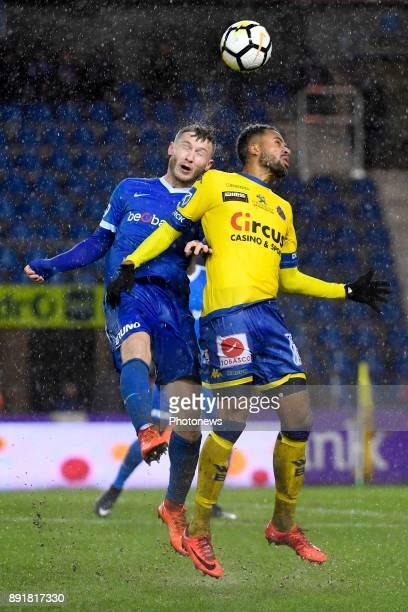 Jakub Brabec defender of KRC Genk Isaac Kiese Thelin forward of Beveren during the Belgian Croky Cup match between KRC Genk and Waasland Beveren on...