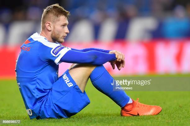 Jakub Brabec defender of KRC Genk looks dejected on the final whistle after the defeat during the Jupiler Pro League match between KRC Genk and KV...