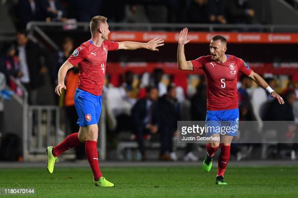 Jakub Brabec of Czech Republic celebrates with Vladimir Coufal of Czech Republic after Jakub Brabec scores his sides first goal during the UEFA Euro...