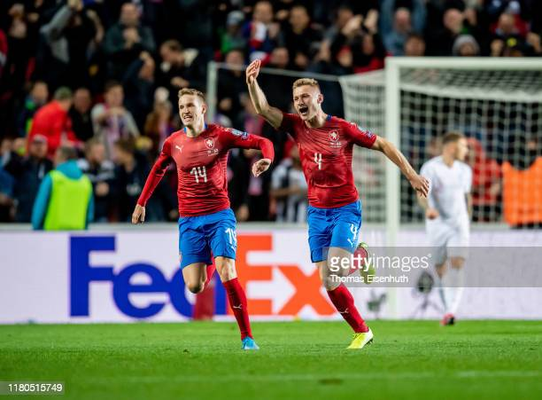 Jakub Brabec of the Czech Republic celebrates with Jakub Jankto after scoring his team's first goal during the UEFA Euro 2020 qualifier between Czech...