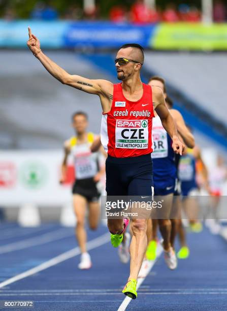 Jakub Holusa of Czech Republic celebrates winning in the Men's 3000m Final during day three of the European Athletics Team Championships at the Lille...