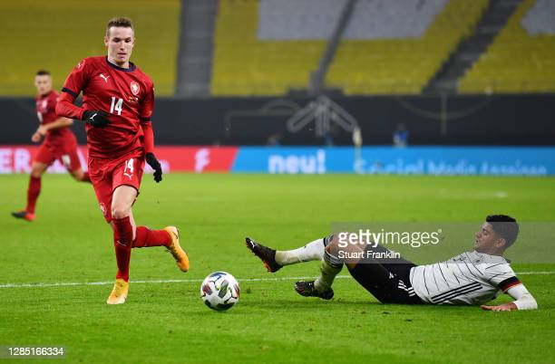 Jakub Jankto of Czech Republic is challenged by Mahmoud Dahoud of Germany during the international friendly match between Germany and Czech Republic...