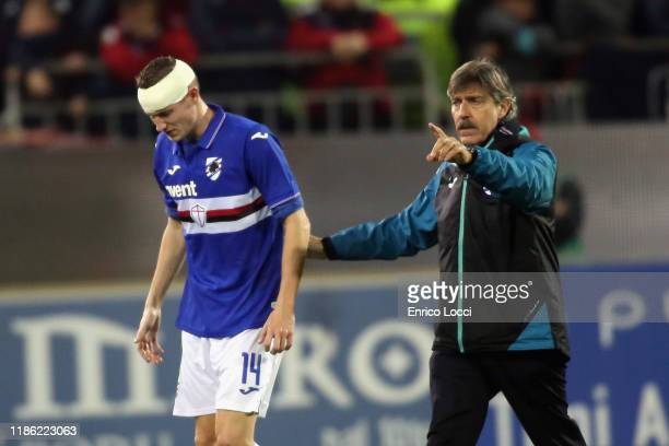 Jakub Jankto of Sampdoria reacts after being injured during the Serie A match between Cagliari Calcio and UC Sampdoria at Sardegna Arena on December...