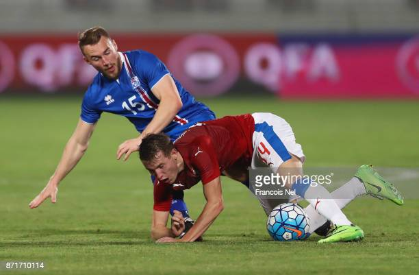 Jakub Jankto of the Czech Republic and Runar Mar Sigurjonsson of Iceland battle for the ball during the international friendly match between Iceland...