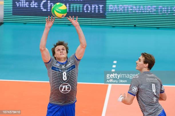 Jakub Janouch and Andreas Takvam of Friedrichshafen during the CEV Champions League match between Chaumont and VfB Friedrichshafen on December 18...