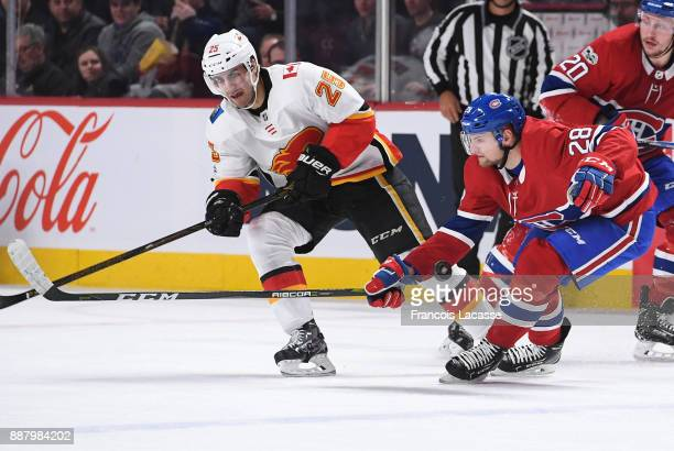Jakub Jerabek of the Montreal Canadiens blocks the shot from Freddie Hamilton of the Calgary Flames in the NHL game at the Bell Centre on December 7...