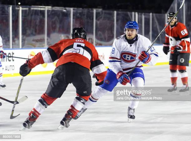 Jakub Jerabek of the Montreal Canadiens skates against Cody Ceci of the Ottawa Senators during the of the 2017 Scotiabank NHL100 Classic at Lansdowne...