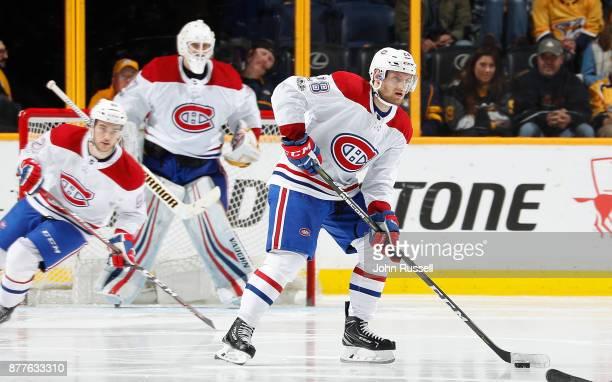 Jakub Jerabek of the Montreal Canadiens skates against the Nashville Predators in his first NHL game on November 22 2017 at Bridgestone Arena in...