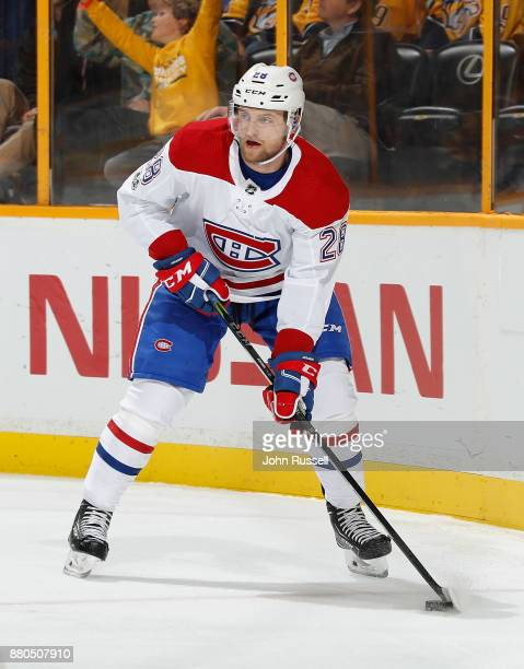 Jakub Jerabek of the Montreal Canadiens skates against the Nashville Predators during an NHL game at Bridgestone Arena on November 22 2017 in...