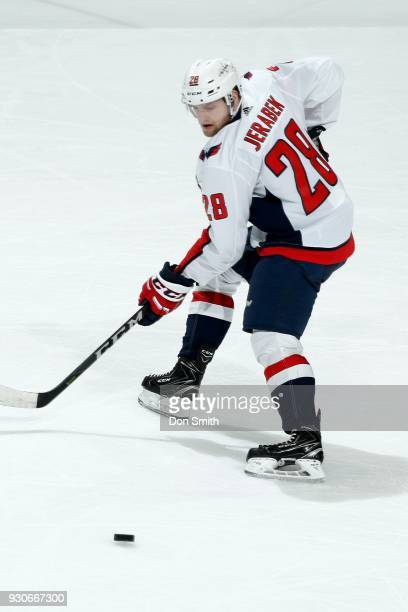 Jakub Jerabek of the Washington Capitols looks during a NHL game against the San Jose Sharks at SAP Center on March 10 2018 in San Jose California