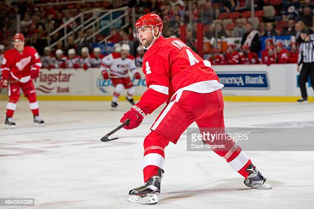 Jakub Kindl of the Detroit Red Wings follows the play during an NHL game against the Carolina Hurricanes at Joe Louis Arena on October 27 2015 in...