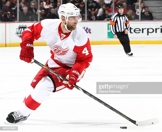Jakub Kindl of the Detroit Red Wings handles the puck during the game against the Anaheim Ducks on January 12 2014 at Honda Center in Anaheim...
