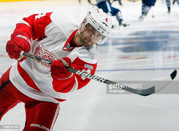 Jakub Kindl of the Detroit Red Wings shoots during warmup before NHL action against the Toronto Maple Leafs at the Air Canada Centre January 7 2012...
