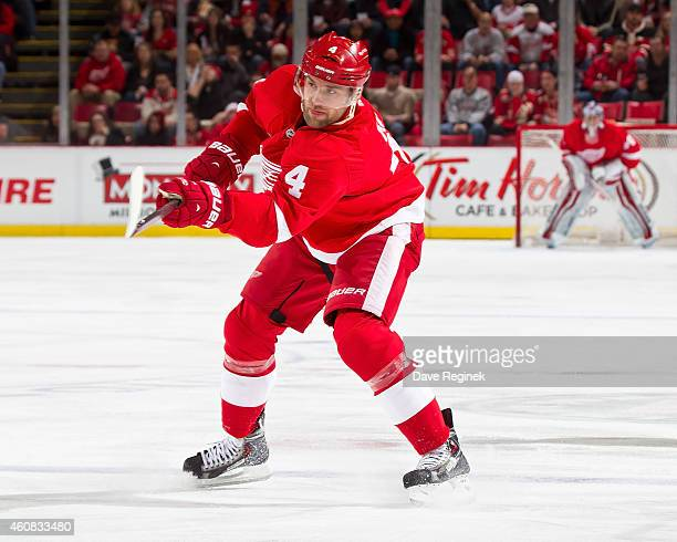 Jakub Kindl of the Detroit Red Wings shoots the puck during a NHL game against the Colorado Avalanche on December 21 2014 at Joe Louis Arena in...