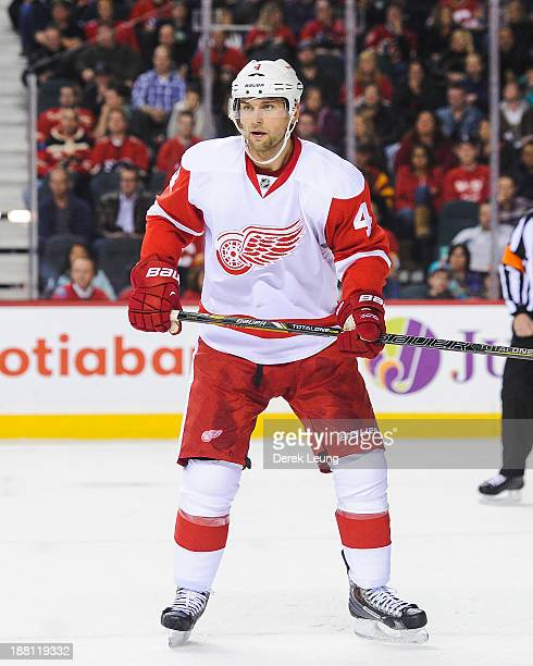 Jakub Kindl of the Detroit Red Wings skates against the Calgary Flames during an NHL game at Scotiabank Saddledome on November 1 2013 in Calgary...