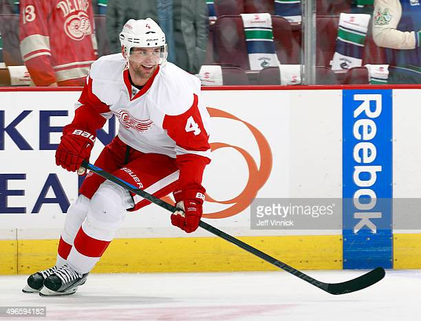 Jakub Kindl of the Detroit Red Wings skates up ice during their NHL game against the Vancouver Canucks at Rogers Arena October 24 2015 in Vancouver...