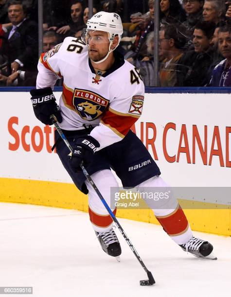 Jakub Kindl of the Florida Panthers carries the puck against the Toronto Maple Leafs during the first period at the Air Canada Centre on March 28...