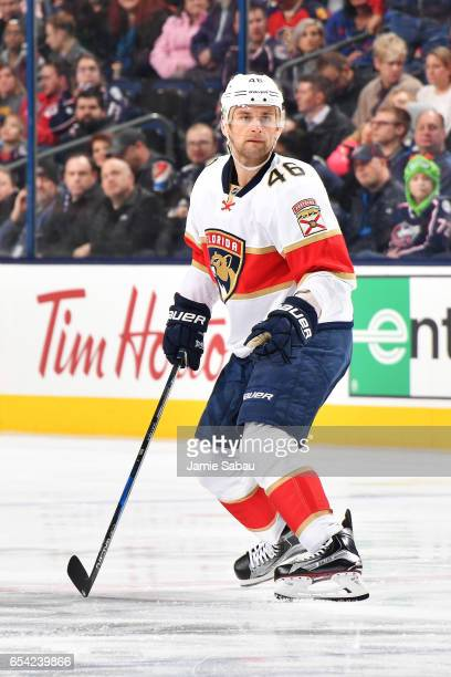 Jakub Kindl of the Florida Panthers skates after the puck during the game against the Columbus Blue Jackets on March 16 2017 at Nationwide Arena in...