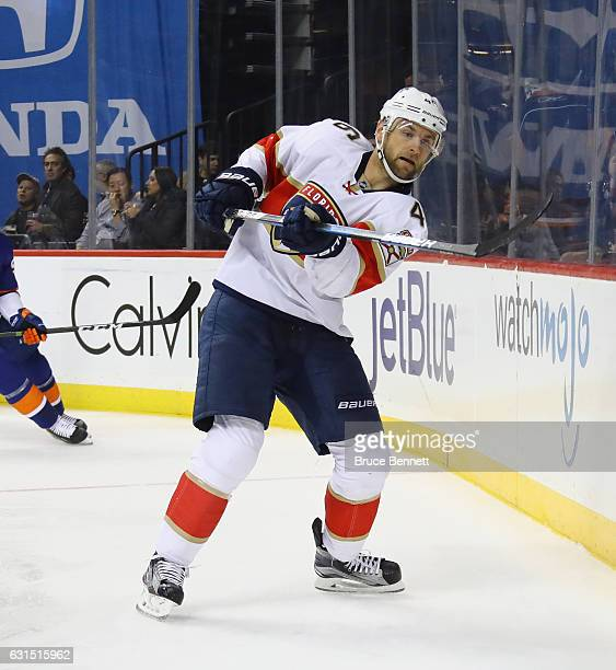 Jakub Kindl of the Florida Panthers skates against the New York Islanders at the Barclays Center on January 11 2017 in the Brooklyn borough of New...
