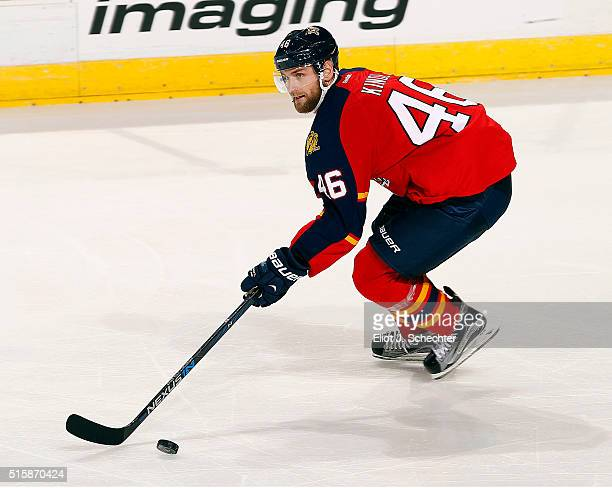 Jakub Kindl of the Florida Panthers skates with the puck against the Philadelphia Flyers at the BBT Center on March 12 2016 in Sunrise Florida