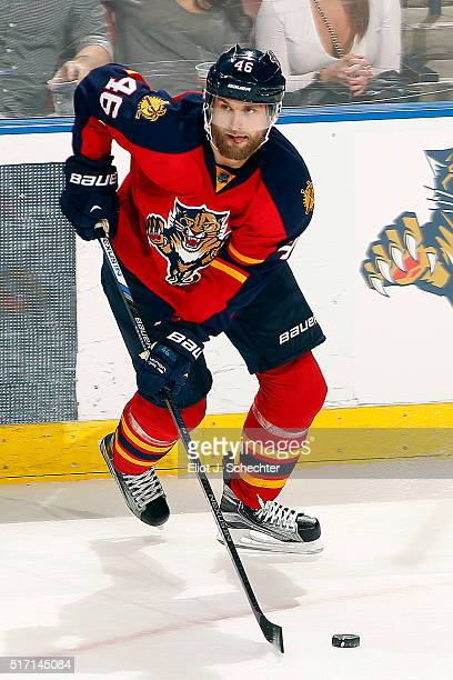 Jakub Kindl of the Florida Panthers skates with the puck against the Detroit Red Wings at the BBT Center on March 19 2016 in Sunrise Florida