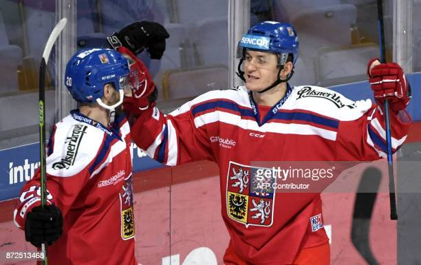 Jakub Klepis and Lucas Radil of Czech Republic celebrate the 2-0 goal by Radil during the match Czech Republic between Switzerland at the Karjala...