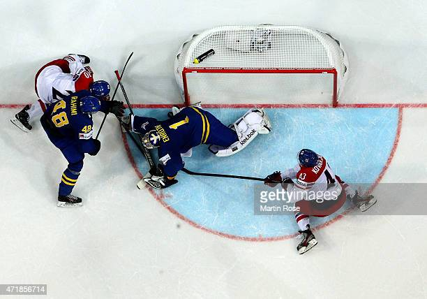 Jakub Klepis of Czech Republic fails to score over Jhonas Enroth goaltender of Sweden during the IIHF World Championship group A match between Czech...