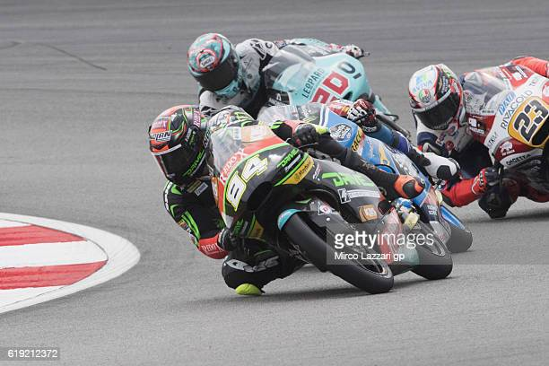 Jakub Kornfeil of Czech Rep and Drive M7 SIC Racing Team leads the field during the Moto3 race during the MotoGP Of Malaysia Race at Sepang Circuit...