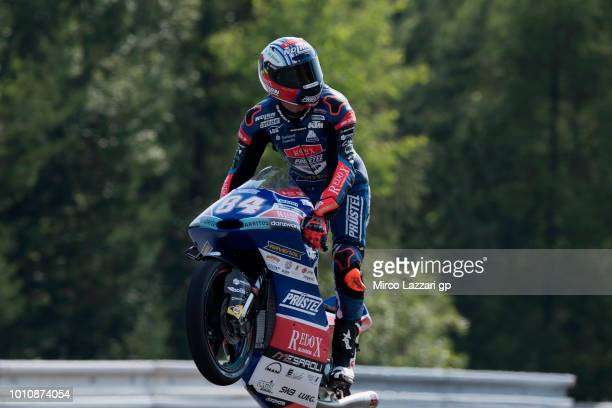 Jakub Kornfeil of Czech Republic and Pruestel GP celebrates the Moto3 pole position during the MotoGp of Czech Republic - Qualifying at Brno Circuit...