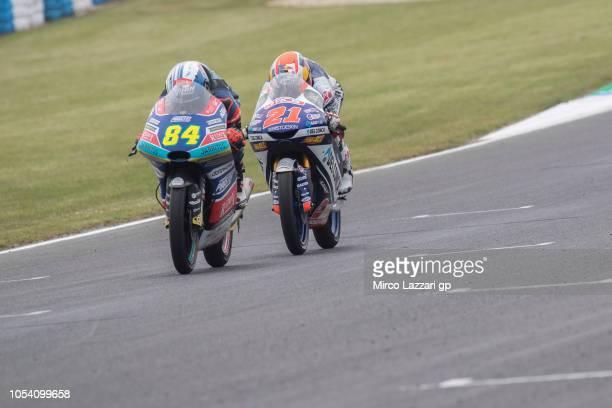 Jakub Kornfeil of Czech Republic and Pruestel GP leads Fabio Di Giannantonio of Italy and Del Conca Gresini Moto3 during the Moto3 qualifying during...