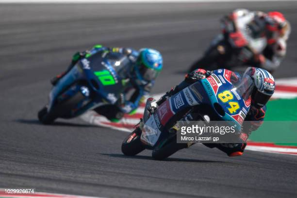 Jakub Kornfeil of Czech Republic and Pruestel GP leads the field during the Moto3 race during the MotoGP of San Marino Race at Misano World Circuit...