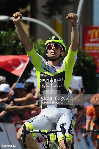 Jakub Mareczko of Southeast-Venezuela reacts after winning Stage 5 of the 2016 Tour of Turkey, Alanya to Kemer on April 28, 2016 in Alanya, Turkey.