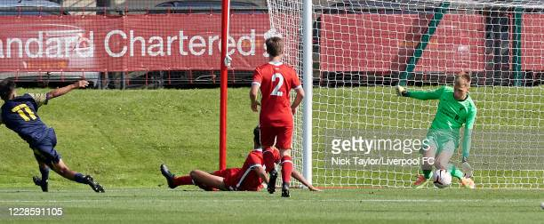 Jakub Ojrzynski of Liverpool saves a shot from Jai Verma of Stoke City in action during the U18 Premier League game at The Kirkby Academy on...