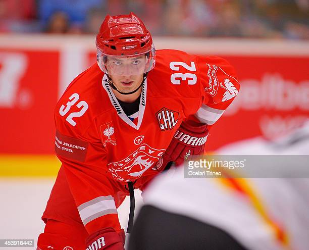 Jakub Orsava of HC Ocelari Trinec during the Champions Hockey League group stage game between HC Ocelari Trinec and SC Bern on August 21 Trinec,...