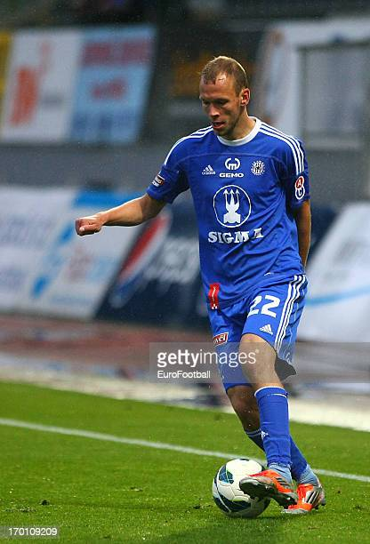 Jakub Petr of SK Sigma Olomouc in action during the Czech First League match between FK Jablonec and SK Sigma Olomouc held on May 26, 2013 at the...