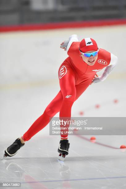 Jakub Piotrowski of Poland performs during the Men 1500 Meter at the ISU ISU Junior World Cup Speed Skating at Max Aicher Arena on November 26 2017...