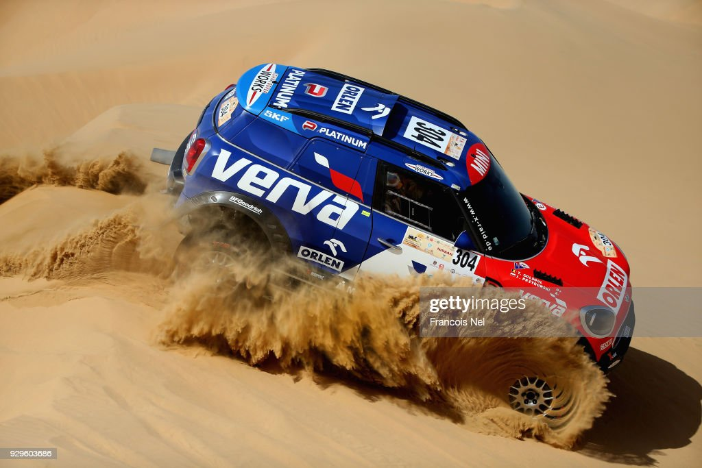 Jakub Przygonski of Poland and Tom Colsoul of Belguim and Mini John Cooper Works race during day one of the Dubai International Baja on March 9, 2018 in Dubai, United Arab Emirates.