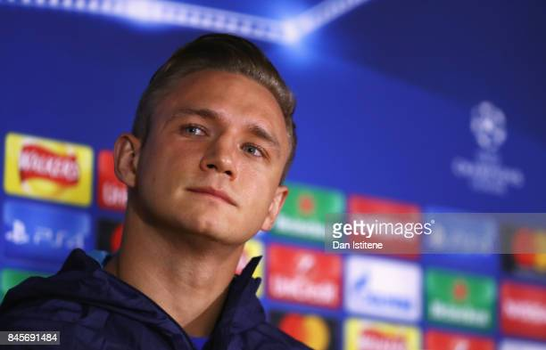 Jakub Rzezniczak looks on during a Qarabag press conference ahead of the UEFA Champions League Group C match against Chelsea at Stamford Bridge on...