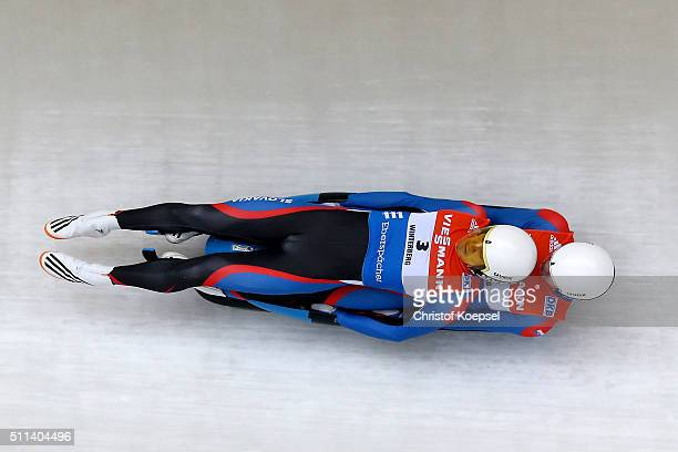 Jakub Simonak and Marek Solcansky of Slovakia compete during the men doubles first heat of the Viessmann Luge World Cup Day 1 at Veltins EisArena on...