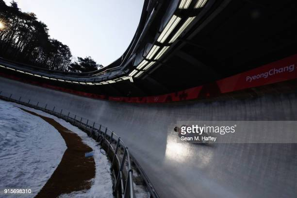 Jakub Simonak of Slovakia slides in a training session for the Men's Luge during previews ahead of the PyeongChang 2018 Winter Olympic Games at the...
